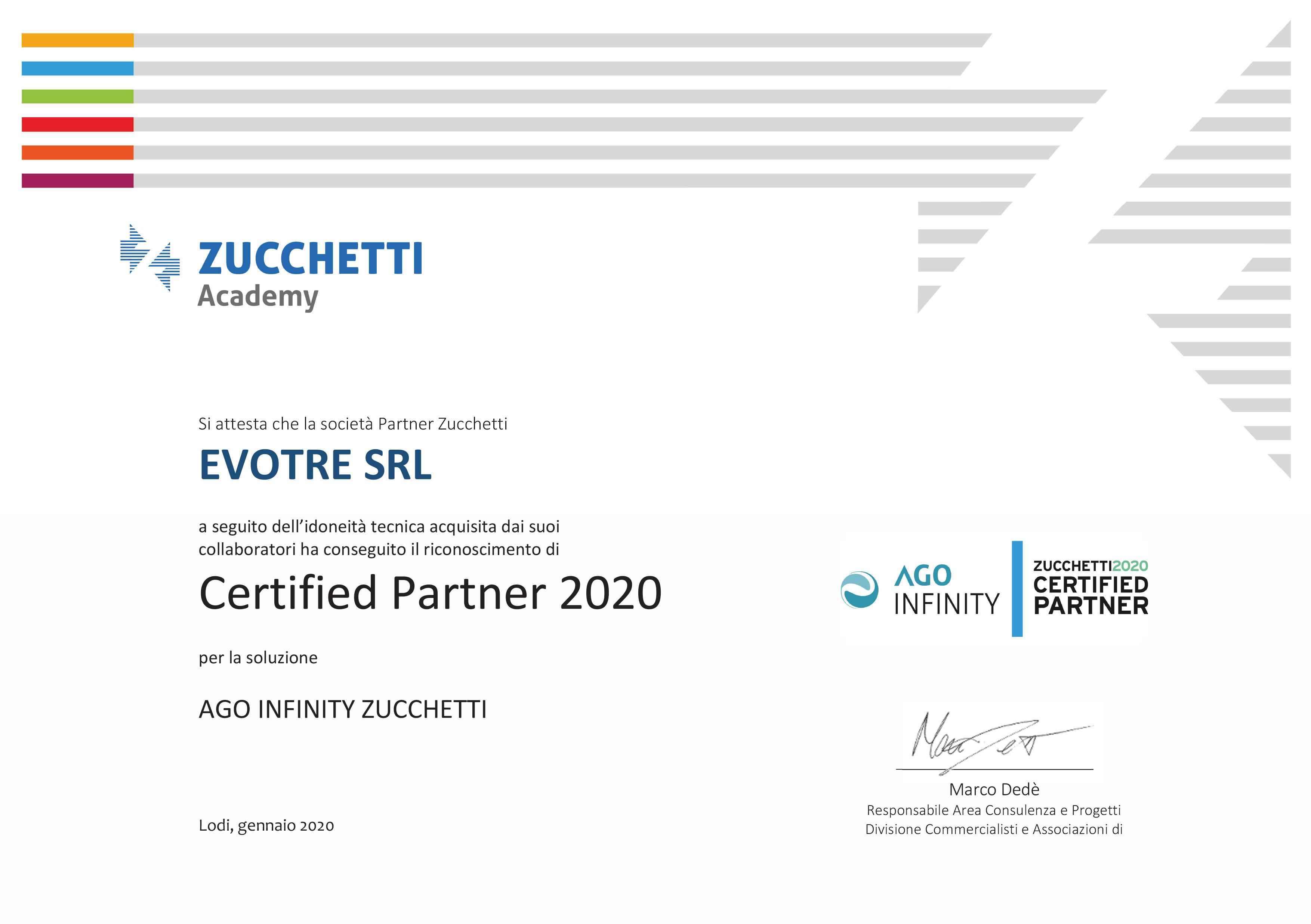 certificato Zucchetti Ago Infinity